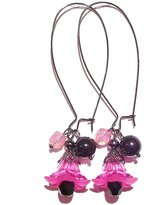The Black Cat Jewellery Store Lucite Lily Flower Cluster Earrings - Fushia Pink, Black & Gunmetal