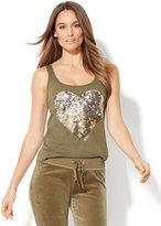 New York & Co. Gold & Silver Sequin Heart Tank Top