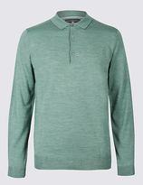 M&s Collection Merino Wool Blend Polo Shirt