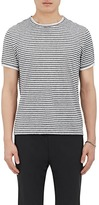 Theory MEN'S KNIT-TRIMMED STRIPED COTTON T-SHIRT