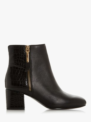 Dune Orlla Leather Side Zip Ankle Boots, Black Croc