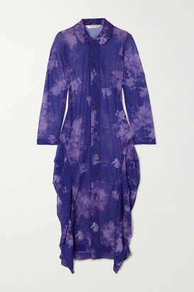 Comme des Garcons Printed Georgette Midi Dress - Purple