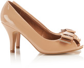 Wallis Nude Bow Peep Toe Court Shoe
