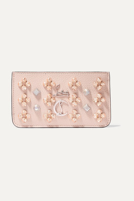 Christian Louboutin Credilou Spiked Textured-leather Wallet - Baby pink