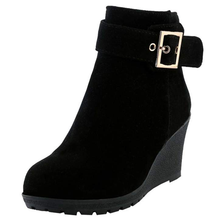 4c99c1124de Artfaerie Womens Wedge High Heel Ankle Boots with Buckle Side Zipper  Booties Ladies Nubuck Leather Warm Shoes(US 7.5, )