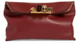 Alexander McQueen Leather Skull Four-Ring Clutch Bag