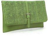 BMC Ornate Cut Out Design Green Faux Leather Fashion Statement Envelope Clutch