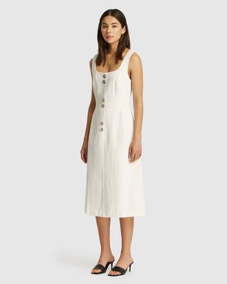 Friend Of Audrey Astor Linen Buttoned Dress