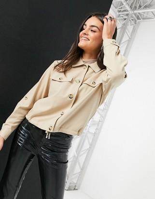 Vero Moda safari overshirt jacket in tan