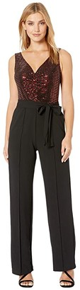 Donna Morgan Metallic Stretch Top with Ruched Detail and Tie Jumpsuit (Black) Women's Jumpsuit & Rompers One Piece