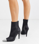 Asos Design DESIGN Wide Fit Exeter metal toe cap boots in black