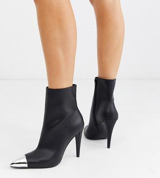 ASOS DESIGN Wide Fit Exeter metal toe cap boots in black