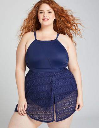 Lane Bryant No-Wire High-Neck Crochet Swim Dress