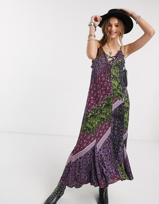 Free People work of art printed maxi dress-Black