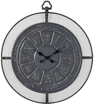 """Willow Row Black Metal Industrial Wall Clock with Roman Numerals - 32.25"""" x 36"""""""