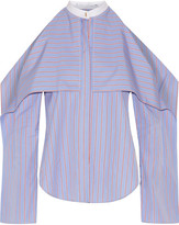 Rosetta Getty Cold-shoulder Striped Cotton-poplin Blouse - Blue