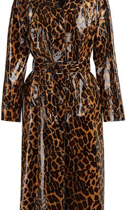 Miu Miu Coated leopard trench coat