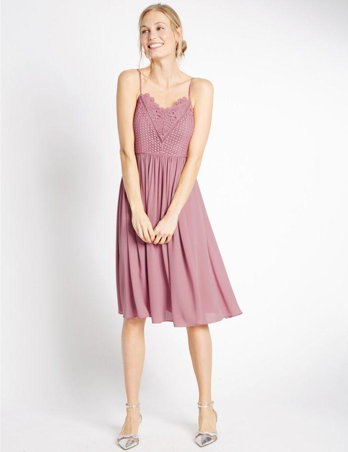 Marks and Spencer Floral Lace Gathered Hem Slip Midi Dress