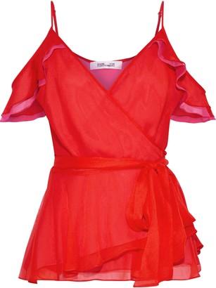Diane von Furstenberg Kemma Cold-shoulder Ruffle-trimmed Silk-georgette Wrap Top