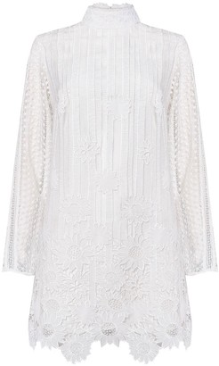 True Decadence White Ladder Cut Work Mini Dress