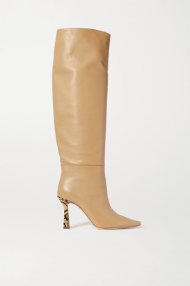 Wandler Lina Leather Knee Boots - Beige