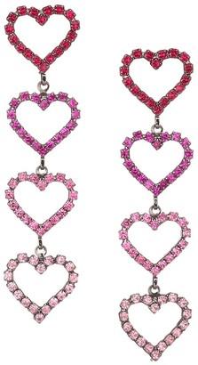 Elizabeth Cole Color of My Love Mila Swarovski Crystal Austrian Crystal Heart Shape Drop Earrings