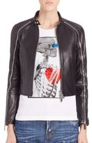 DSQUARED2 Ovine Leather Sleeve Zipper Jacket