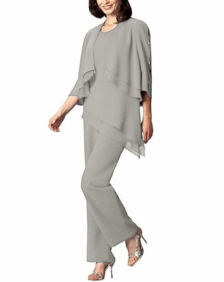 Hsls Women's 3 Pieces Chiffon Mother of Bride Dress Pant Suits with Jacket Wedding Outfits (Silver Grey 14)