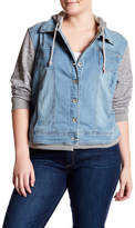 Live A Little Denim Fleece Hooded Jacket (Plus Size)