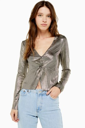 Topshop Womens Gold Foil Plunge Long Sleeve Top - Gold