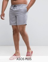 Asos PLUS Swim Shorts In Gray In Mid Length