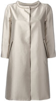 Armani Collezioni metallic concealed-placket coat - women - Cotton/Silk - 40