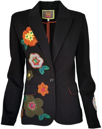 Lalipop Design Black Unlined Blazer Jacket With Flower Applique Details