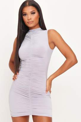 I SAW IT FIRST Grey High Neck Ruched Bodycon Dress