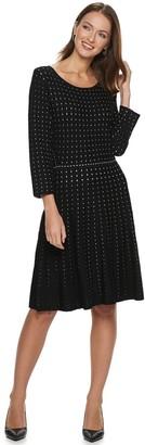 Nina Leonard Women's Contrast Dot Fit & Flare Sweater Dress
