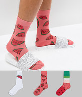 Asos Socks With Cool Watermelon Design 3 Pack