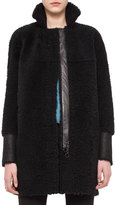 Akris Punto Mid-Length Shearling Fur Coat, Black