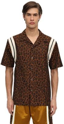 Just Don Leopard Print Cotton Bowling Shirt