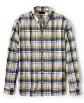 Classic Men's Tall Tailored Fit Long Sleeve Ringspun Cotton Shirt-Ivory Plaid