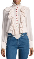 See by Chloe Ruffled Chiffon Long-Sleeve Blouse, Beige