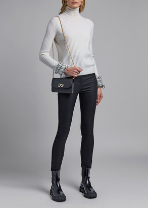 Dolce & Gabbana Tweed-Cuff Wool Turtleneck Sweater