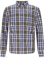 Lyle & Scott Boys' Poplin Checked Long Sleeved Shirt, Olive Green