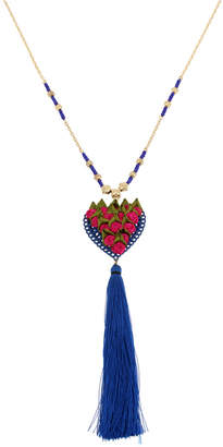 "Betsey Johnson Gold-Tone Fabric Rose Heart & Tassel Beaded Pendant Necklace, 34"" + 3"" extender"