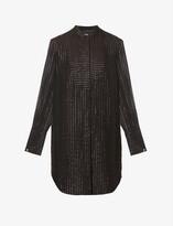 Thumbnail for your product : The Kooples Semi-sheer silk-blend mini shirt dress