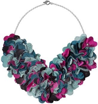Manley Leather Embellished Luna Necklace Pink, Mint Teal & Black