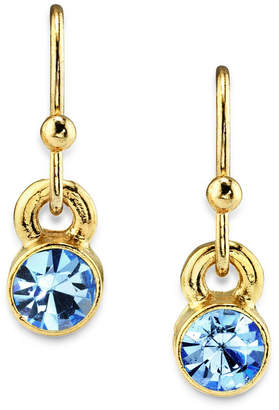 2028 14K Gold Dipped Round Crystal Wire Drop Earring