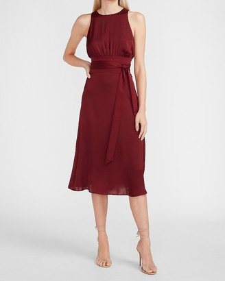Express Satin Belted High Neck Midi Dress