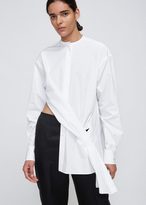 Ports 1961 White Collarless Long Sleeve Shirt With Asymmetrical Detail