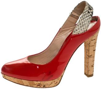 Fendi Orange Patent Leather Cork Platform Slingback Sandals Size 36.5