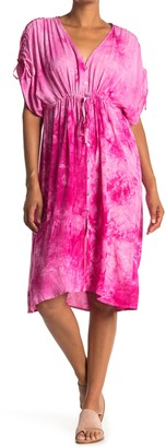 FAVLUX Tie Dye Dolman Sleeve Midi Dress